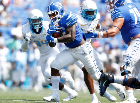 Memphis running back Rodrigues Clark runs the ball against Southern during their game at the Liberty Bowl Memorial Stadium on Saturday, Sept. 7, 2019.