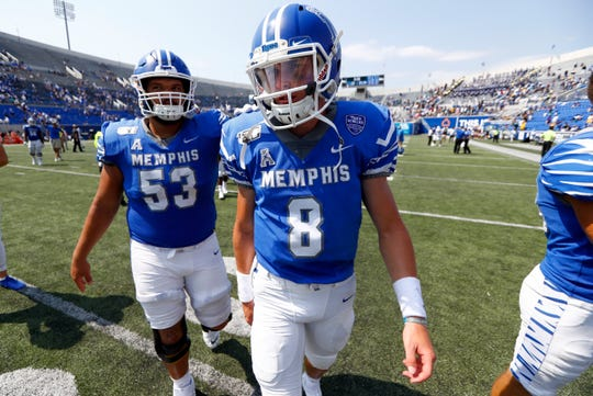 Memphis quarterback Connor Adair walks off the field after their 55-24 win against Southern at the Liberty Bowl Memorial Stadium on Saturday, Sept. 7, 2019.