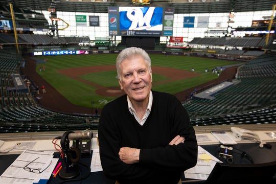 Rob Edwards poses in the Miller Park press box on Wednesday, May 8.