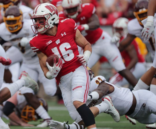Wisconsin wide receiver Jack Dunn fields a punt during the game Sept. 7, 2019, against Central Michigan.