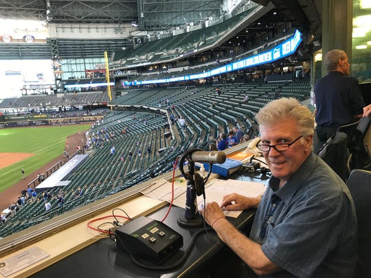 Robb Edwards prepares for his penultimate game at Miller Park as public address announcer on Sept. 7, 2019.