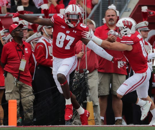 Wisconsin wide receiver Quintez Cephus celebrates one of his two touchdowns reception during the second quarter Saturday.