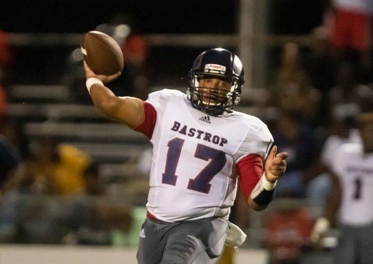Bastrop turned to Carterius Johnson (17) at quarterback after projected starter Zy Scott had his appendix removed. Johnson played left tackle for the Rams last season.