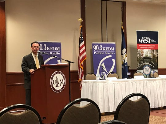 """Candidate in the 32nd Senate District Daniel M. """"Danny"""" Cole, D-Jena, speaks at a candidate forum Thursday."""