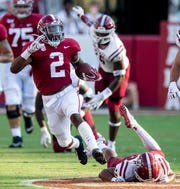 Alabama running back Keilan Robinson (2) breaks free for a long touchdown against New Mexico State at Bryant-Denny Stadium in Tuscaloosa, Ala., on Saturday September 7, 2019.