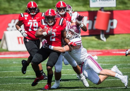 Ball State running back Caleb Huntley competes during the Cardinals' game against Fordham at Scheumann Stadium on Sept. 7, 2019.