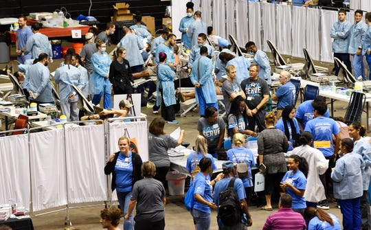 The dental clinic is one of the most popular stations as  Saint Thomas Health hosts a free health care clinic, Medical Mission at Home, at Municipal Auditorium. The comprehensive clinic provided free medical care including pharmacy services, dental services, mammograms, vision services, foot and wound care, lab services and behavioral medicine. Saturday, Sept. 7, 2019, in Nashville, Tenn.