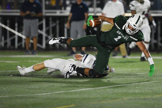 Charles Finley (1), shown here in a season-opening win over Pope John, again caught two touchdown passes from Andrew Butler in a 52-21 victory over Seton Hall Prep on Friday, Sept.  6, 2019.