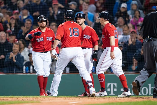 Sep 6, 2019; Boston, MA, USA; Boston Red Sox catcher Christian Vazquez (7) and second baseman Brock Holt (12) and left fielder Andrew Benintendi (16) congratulate first baseman Mitch Moreland (18) after hitting a three run home run during the fourth inning against the New York Yankee at Fenway Park.