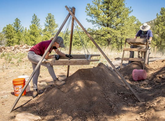 Desiree Apodaca, a New Mexico State University anthropology student, works diligently during one of the many days of the NMSU Archaeology Field School.