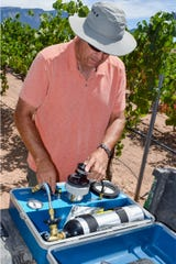 Gill Giese, New Mexico State University viticulture specialist, prepares the Scholander pressure chamber to measure a grapevine stem water potential.