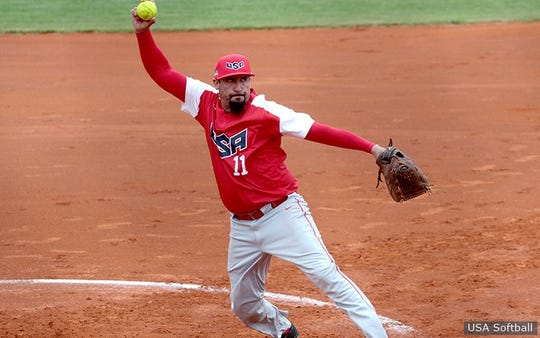 Tony Mancha throws a pitch during his time with the Team USA fastpitch softball squad.