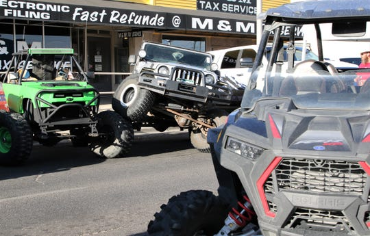 4X4 vehicles line the streets of Farmington, Friday, Sept. 6, 2019, during Four Corners 4X4 Week.
