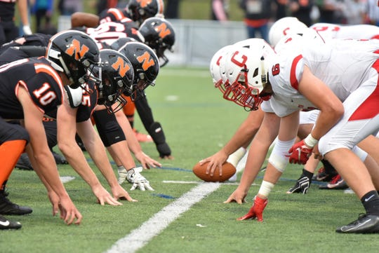 The Northville Mustangs, left, and Canton Chiefs go head-to-head on Sept. 6.