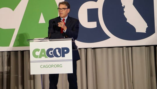 Energy Secretary Rick Perry address the California Republican Party Convention on Friday, Sept. 7, 2019 in Indian Wells, Calif.