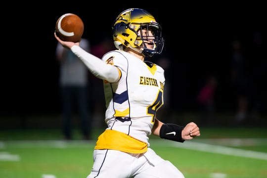 Eastern York's Trevor Seitz throws to Kaleb Corwell for an 82-yard touchdown pass during a YAIAA football game against Littlestown at Thunderbolt Stadium on Friday, September 6, 2019. Eastern York won, 46-42.