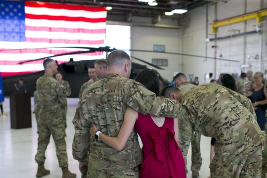 A deployment ceremony for members of an Arizona National Guard detachment unit was held at the Army Aviation Support Facility at Papago Park Military Reservation in Phoenix on Sept. 6, 2019.