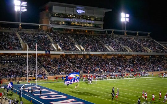 Eagle Stadium in Allen, Texas, has a seated capacity of 18,000, but has seen more than 21,000 fans show up for games in the past.