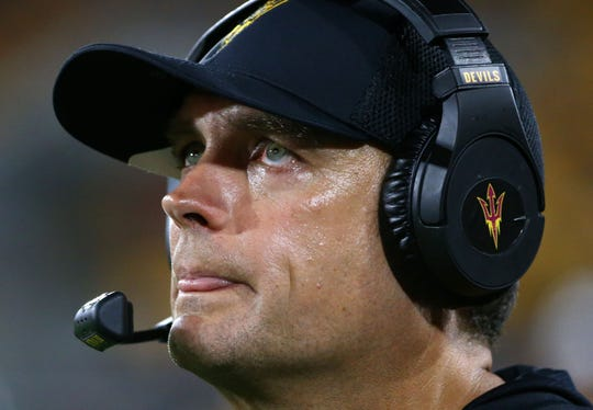 Arizona State defensive coordinator Danny Gonzales against Sacramento State in the first half during a game at Sun Devil Stadium on Sep. 6, 2019 in Tempe, Ariz.
