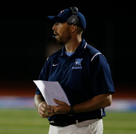 John Jay coach Tom O'Hare looks on from the sideline during a Sept. 6 game against Carmel.