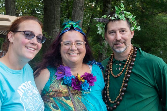 Left to right: Katie Smock, Nicole Pauling and Les Pauling during the Enchanted Fairy Festival at Rocky Ridge Park on Saturday, Sept. 7, 2019. Smock and Pauling helped create inaugural festival which drew over 700 visitors.