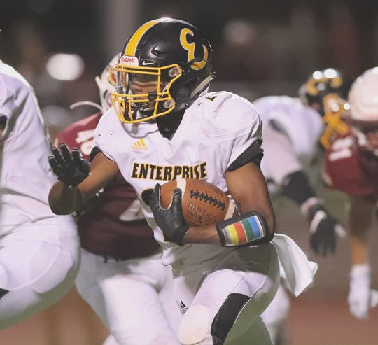 Junior running back Eli Cortinas led Enterprise with 159 rushing yards on 13 carries and one touchdown on Friday, Sept. 6, 2019.
