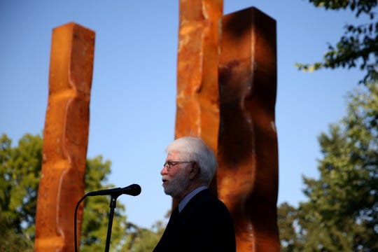 "Salem Mayor Chuck Bennett speaks during a dedication for the ""Sentinels"" sculpture and opening of new exhibits to celebrate 100 years of the Salem Art Association. Photographed at the Bush Barn Art Center in Salem on Sep. 6, 2019."
