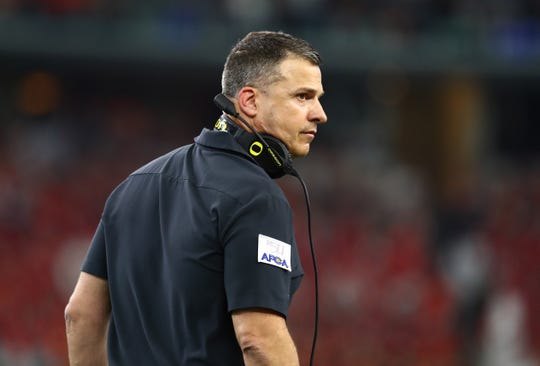 Aug 31, 2019; Arlington, TX, USA; Oregon Ducks head coach Mario Cristobal on the sidelines during the game against the Auburn Tigers at AT&T Stadium. Mandatory Credit: Matthew Emmons-USA TODAY Sports