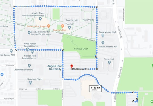 The Angelo State University 2019 homecoming parade route.