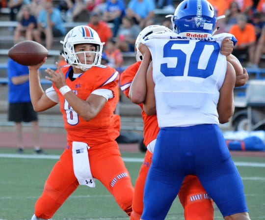 San Angelo Central High School quarterback Malachi Brown drops back to pass in a 52-10 win against Del Rio at San Angelo Stadium Friday, Sept. 6, 2019. Brown threw for three touchdowns.