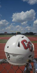 The Christoval High School football team wore stickers on Sept. 6, 2019, in memory of former head coach Billy Barnett, a hall of fame coach who died Sept. 1, 2019.