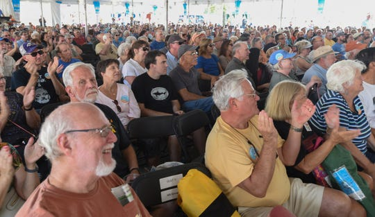 Thousands listen to sounds of a band at the 2nd day of the National Folk Festival in Salisbury on Saturday, Sept. 7, 2019.