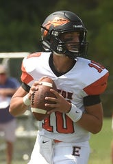 Easton quarterback Ryan O'Connor looks to pass against James M. Bennett on Saturday, Sept. 7, 2019.