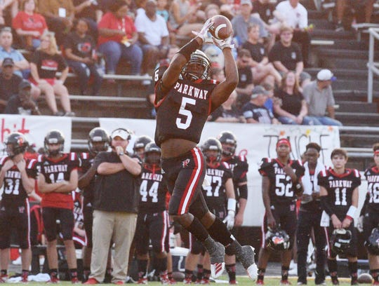 Parkway's Jaylan White during the football game against Minden High School September 6, 2019 at Preston-Crownover Stadium.