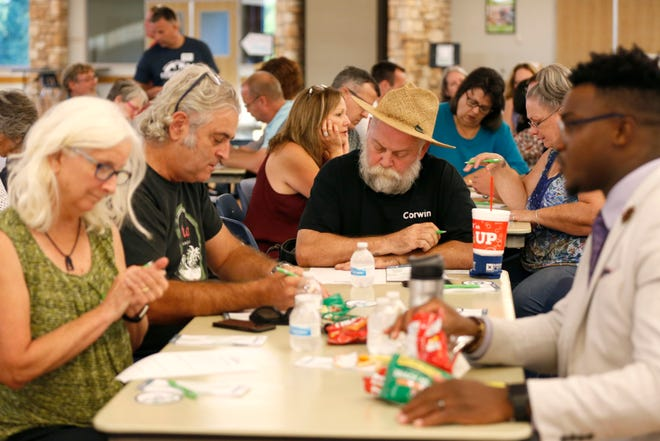 Community members fill out a questionnaire at a workshop put on by the city of Springfield to gather community input for a comprehensive plan for the next 20 years on Wednesday, Sept. 4, 2019.