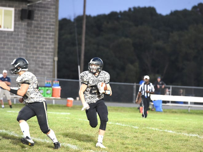 Buffalo Gap's Bryce Hildebrand helped lead a rushing attack that saw three Bison players close to or over 100 yards.