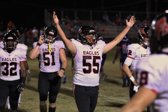 NFC's Brandon Moore celebrates as NFC beat Jefferson County 42-36 in Monticello on Friday, Sept. 6, 2019.