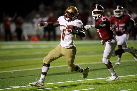 Florida High running back Alfred Menjor runs towards the end zone as the Seminoles beat Chiles 20-19 Friday, Sept. 6, 2019.