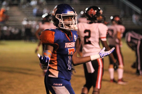 Jefferson County junior Ja'quan Coasey had an interception on defense as NFC beat Jefferson County 42-36 in Monticello on Friday, Sept. 6, 2019.