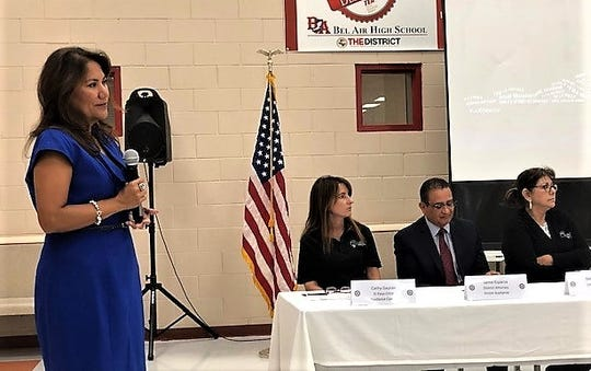 U.S. Rep. Veronica Escobar, D-El Paso, listens to a question at her Sept. 7,  town hall meeting. In background are Kathy Gaytan, executive director of the El Paso Child Guidance Center; Jaime Esparza, El Paso County district attorney; and Deborah Zuloaga, CEO of United Way of El Paso County.