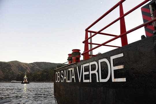 The derrick barge Salta Verde is shown off the coast of Santa Cruz Island on Sept. 4, 2019. The Salta Verde will be used as part of the motor vessel Conception salvage operation.