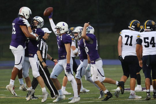 John Jay defeated Our Lady of Lourdes 42-21 during football action at John Jay High School in Cross River Sept. 6, 2019.