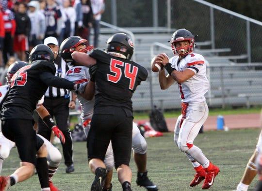 Eastchester's Angelo Sperandio looks to make a throw against Rye on Friday, September 6, 2019.