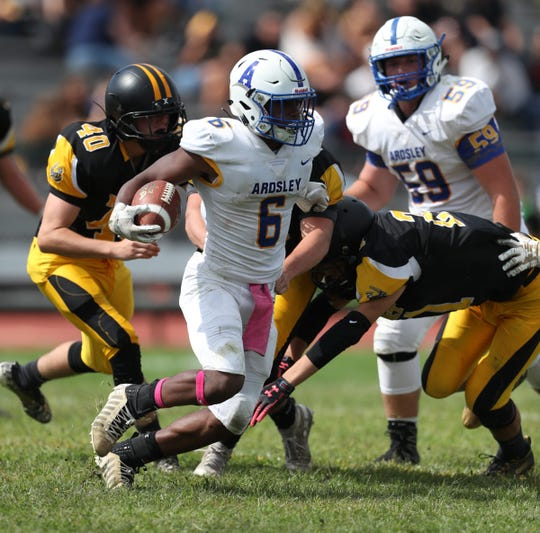 Ardsley's Jalen Leonard-Osborne (6) with the carry during their 40-13 win over Nanuet in football action at Nanuet High School on Saturday, September 7, 2019.