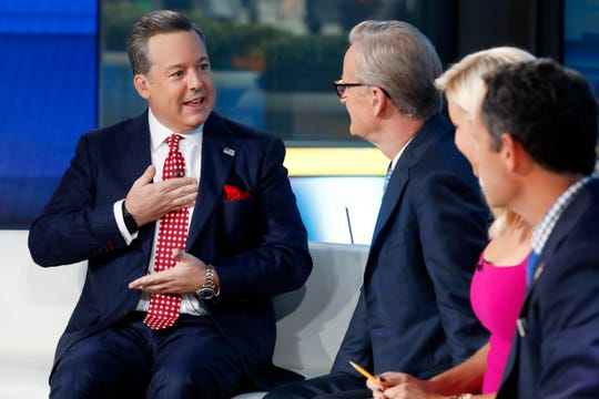 Ed Henry (left, with Steve Doocy, Ainsley Earhardt and Brian Kilmeade) was fired by Fox News Wednesday following the completion of a sexual misconduct investigation.