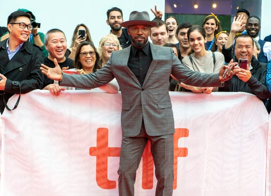 """Jamie Foxx arrives for the premiere of """"Just Mercy"""" at Toronto International Film Festival."""