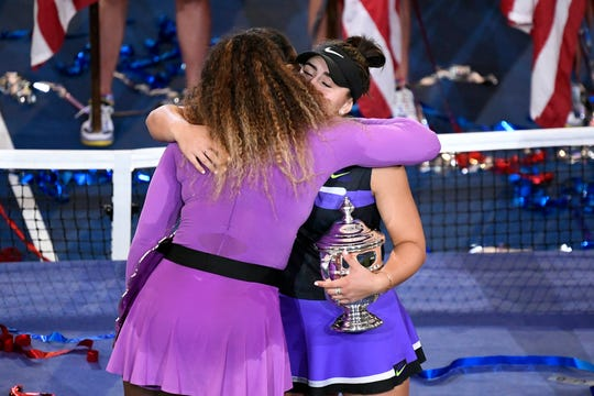 Serena Williams congratulates Bianca Andreescu after the 19-year-old Canadian won the US Open women's title.