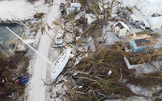 ELBOW KEY, BAHAMAS - SEPTEMBER 7:  An aerial view of view of damaged homes and boats in Hurricane Dorian devastated Elbow Key Island on September 7, 2019 in Hope Town on Elbow Key Island, Bahamas.  The official death toll has risen to 43 and according to officials  is likely to increase even more.