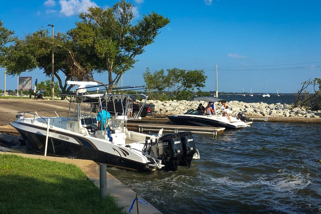 Boaters at Lee Wenner Park in Cocoa on the Indian River late Sunday afternoon.