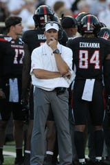 Sep 7, 2019; Lubbock, TX, USA; Texas Tech Red Raiders head coach Matt Wells watches from the sidelines during the game agains the Texas El Paso Miners in the first half at Jones AT&T Stadium. Mandatory Credit: Michael C. Johnson-USA TODAY Sports